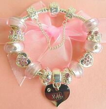 LADIES/CHILDRENS/ TEENS EXTRA SPARKLE PINK NAME CHARM BRACELET GIFT BOXED E-K