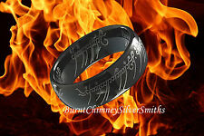 """Lord of the Rings Black TUNGSTEN """"The One Ring"""" Bilbo Baggins Hobbit With Chain"""