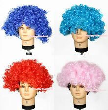 Halloween Party Red Blue Pink Unisex Afro Wig Hair Hat Party Fancy Costume