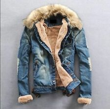 NEW Mens  winter warm fur collar fur lining denim jacket coat