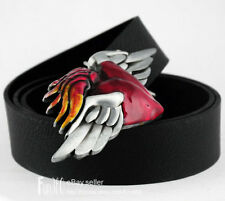 Red Heart-shaped Tattoo Style Angel Wing I LOVE YOU FOREVER Buckle Leather Belt