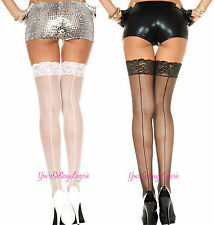 "Plus Size FISHNET BACKSEAM STOCKINGS Thigh High 3"" LACE TOP for GarterBelt QUEEN"