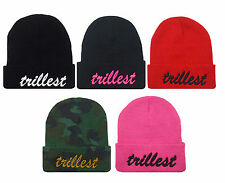 """NEW """"TRILLEST"""" 3D EMBROIDERY BEANIE SKULL CAP HIP HOP HAT MANY COLORS AVAILABLE"""
