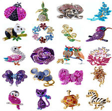 New Hot Sale Silver Cute Animal Rhinestone Crystal Enemal Brooch Pin Gift