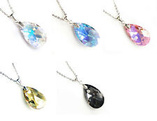 .925 Sterling Silver Chain Necklace Teardrop Crystal Using Swarovski Elements