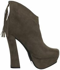 Anita Taupe Suede Platform Tassel Chunky Heel Pump Ankle Boots Women's shoes