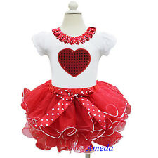 Girls Valentine's Day Red White Tutu Bling Heart Polka Dots Tee Party Dress 1-7Y
