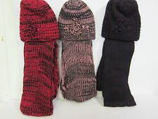 90756 - Ladies Flower Black and Colour Fleck Design Scarf And Hat Set