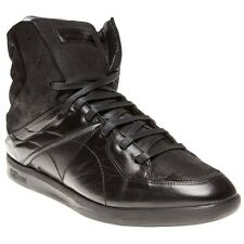 New Mens Alexander McQueen Black Descent Mid Leather Trainers Hi Top Lace Up