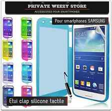 ETUI COQUE HOUSSE SAMSUNG GALAXY S2 S3 S4 NOTE 2 3 MINI SILICONE + FILM CUIR