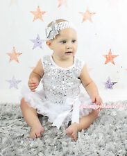 White Sparkle Sequins Baby Bodysuit White Big Bow Skirt Girl Dress NB-18Month