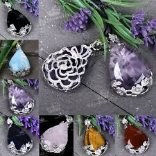 Amethyst Agate Quartz Opal Teardrop Natural Gem Inlaid Bead Pendant For Necklace