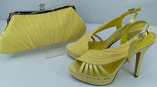 Shoes Matching Bag Yellow Satin Peep Toe Sandal 4.5'' Heel 1.5'' Platform