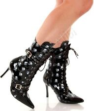 Punk Skulls Buckled Sexy High Heel Calf Ankle Boots
