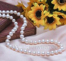 """s328 genuine woman's gift AAA 7-8mm bread white akoya pearl necklace 17"""" 18"""""""