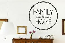 Family Makes This House Home Circle Wall Stickers Decals Art Quotes