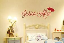 Personalised Name With Two Hearts Wall Stickers Decals kids childrens