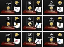 Choose Your NHL Hockey Team 24KT Gold Medallion Coin Desktop Etched Acrylic