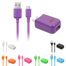 USB Wall Charger+10FT Sync Charge Cable For Samsung Galaxy Note 4 S5 Mega LG HTC