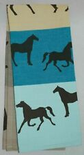 Horse Kitchen Towel | Cotton | Blue or Green Striped | Free US Shipping!