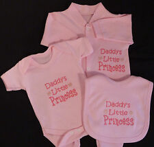 Daddy's Little Princess Baby Clothes Set Grow Vest Bib Girl Funny Gift