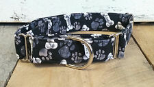 Black Bones Paws Designer Dog Collar buckle, martingale with leash set option