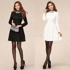 Womens Autumn and Winter Long-sleeved Lace Dress Bottoming Skirt Black White W3L