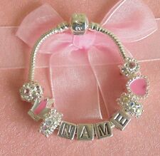 CHILDRENS/KIDS/GIRLS PERSONALISE ANY NAME CHARM BRACELET PINK SILVER  BEADS