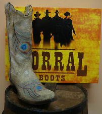 CORRAL LADIES DISTRESSED BONE LEATHER & PEACOCK FEATHER COWGIRL BOOTS! R1110-NIB