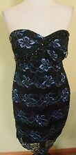 NWOT Onyx Nite blue and black scalloped lace strapless sheath dress
