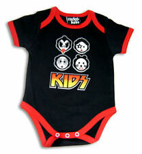 KIDS KISS ROCK METAL PUNK DISCO BLACK BABY SUIT SHIRT GROW 0-18 heavy babysuit