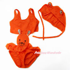Easter Orange Rabbit Bunny One Piece Baby Girl Swimsuit Hat 2Pcs Set 3-8Year