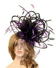 Black & Purple Wedding Feather Fascinator Hat  Choose any colour Satin & Feather