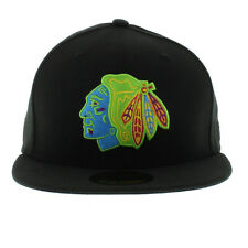 New Era 59fifty Chicago Black Hawks Multipop Neon Black Fitted Hat Cap