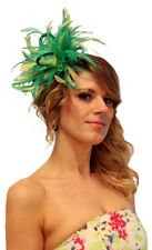 Emerald Green & Yellow Feather Fascinator Hat Choose any Satin/ Feather