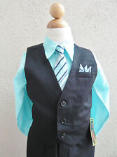 Black aqua pool blue toddler teen boy's vest with tie wedding formal suit set