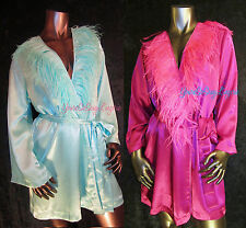Sexy SATIN CHARMEUSE ROBE Short EXOTIC OSTRICH FEATHER Trim LONG SLEEVE S/M L/XL