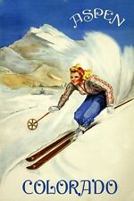 Ski Skiing Aspen Colorado Vintage Blonde Lady Sports Poster Repro FREE S/H