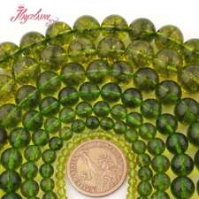 Round Cracked Green Peridot Gemstone Spacer Beads For Jewelry Making Strand 15""