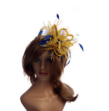 Yellow & Royal Blue  Feather Fascinator Hat Choose any colour Satin Feather