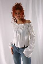 Caribbean Pirate Renaissance Wench Medieval Costume Girl White XXL Blouse Top
