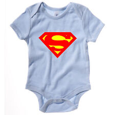 NEW KIDS BABY GROW SUPERMAN SUPEREROI DC COMICS Novità Divertente TUTINA CANOTTA