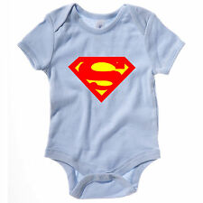 NEW KIDS BABY GROW SUPERMAN SUPERHERO DC COMICS NOVELTY FUNNY ONESIE VEST