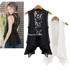 Fashion Chiffon Medium Vest Lace Back Sleeveless Women's Pleated Hem Blouse VE4A