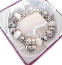 PERSONALISED LADIES/GIRLS SILVER & WHITE CHARM BRACELET BEAD GIFT/PRESENT BOXED