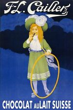 Girl Hula Hoop Candy Suisse Milk Chocolate Cocoa Vintage Poster Repro FREE S/H