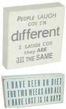 White Wooden Sign/Plaque 'Diet/Lost/People Laugh/Different/Same' Home/Gift