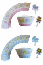 Baby Shower Party Cupcake Wrappers with Toppers x12 Cake Decorations Favours
