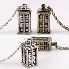 Hot Fashion Silver Gold Doctor Who 3D Police Box Pendant Long Chain Necklace
