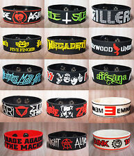 ROCK METAL BAND LOGO BRACELET RUBBER WRISTBAND CUFF PUNK METAL MEMORABILIA